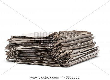 stack of newspapers on a white background