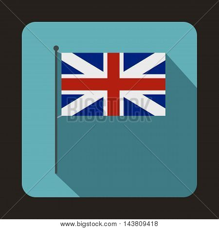 Great Britain flag icon in flat style on a baby blue background