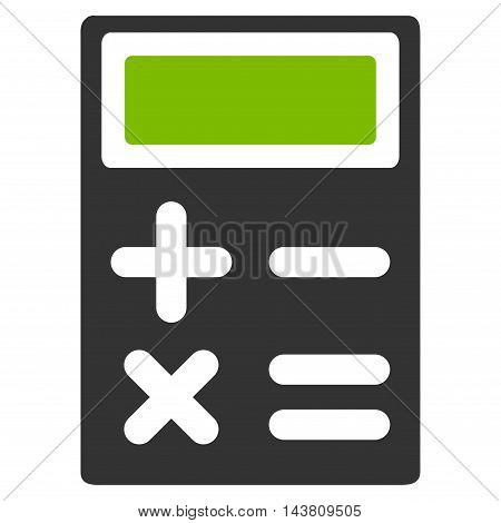 Calculator icon. Vector style is bicolor flat iconic symbol with rounded angles, eco green and gray colors, white background.