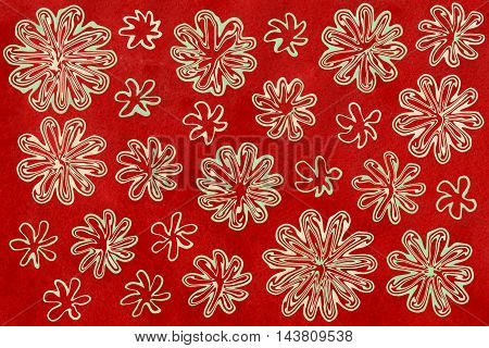 Watercolor Mint Green And Beige Abstract Flowers On Watercolor Maroon Red Background
