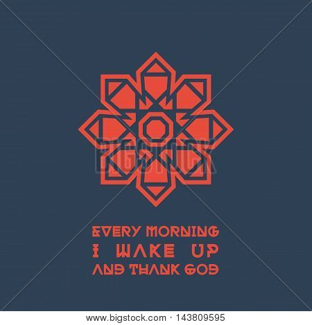 Asian geometric ornament with religious quote. Vector poster