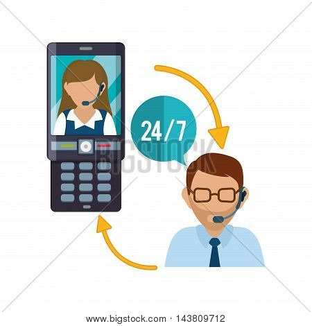 cellphone mobile woman man headphone customer service technical service call center icon set. Colorful and flat design. Vector illustration