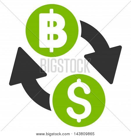 Dollar Baht Exchange icon. Vector style is bicolor flat iconic symbol with rounded angles, eco green and gray colors, white background.