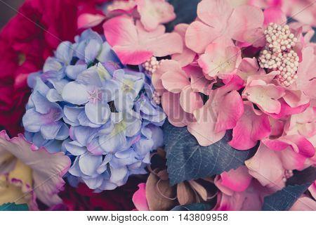 Beautiful Artificial flowers .vintage pastel tones