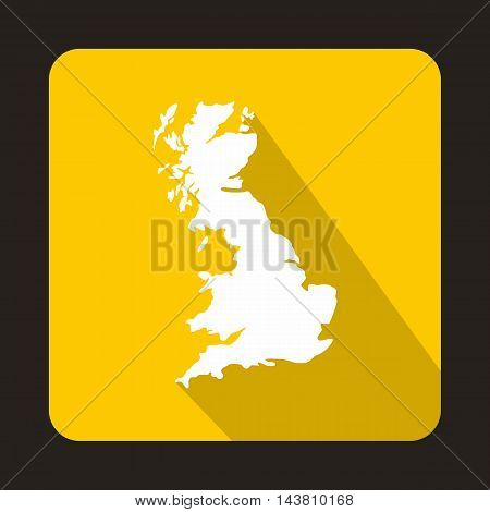 White map of United Kingdom icon in flat style on a yellow background