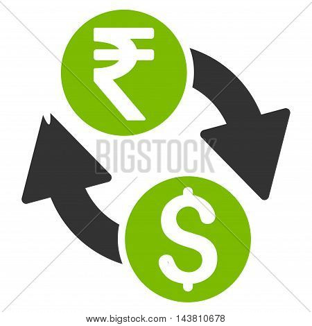 Dollar Rupee Exchange icon. Vector style is bicolor flat iconic symbol with rounded angles, eco green and gray colors, white background.