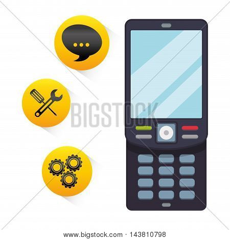 cellphone mobile tools customer service technical service call center icon set. Colorful and flat design. Vector illustration