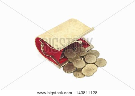 Small golden coin purse isolated on white background
