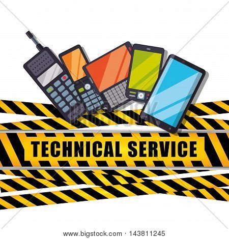cellphone mobile barrier customer service technical service call center icon set. Colorful and flat design. Vector illustration