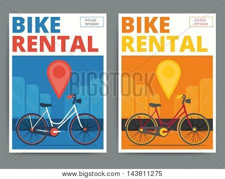 Trendy bicycle rental service poster design. Modern vector bike hire advertisement flyer in A4 size. Cycle and city background.