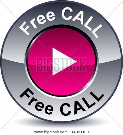Free call round metallic button. Vector.