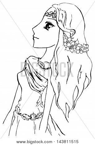 Monochrome elf girl princess anime manga cartoon sketch vector