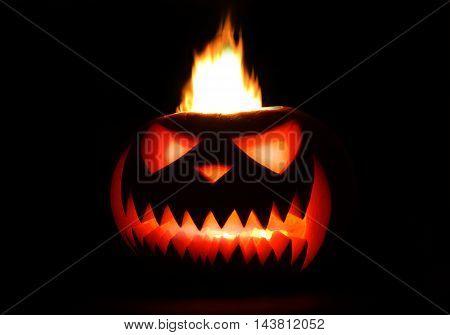 Spooky halloween pumpkin Jack O Lantern shiny inside on black background