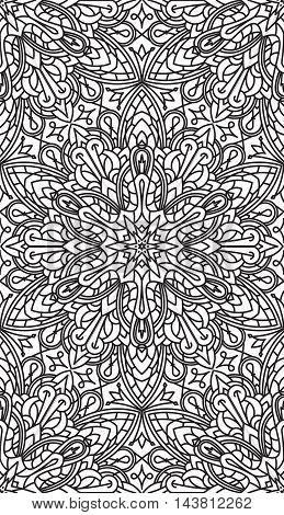 Seamless Abstract Tribal Black-white Pattern. Hand Drawn Ethnic Texture. Vector Illustration.