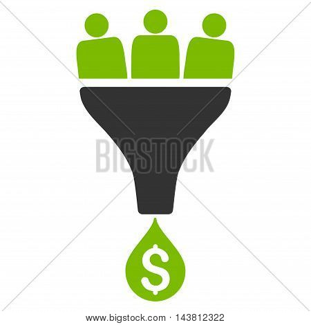 Sales Funnel icon. Vector style is bicolor flat iconic symbol with rounded angles, eco green and gray colors, white background.