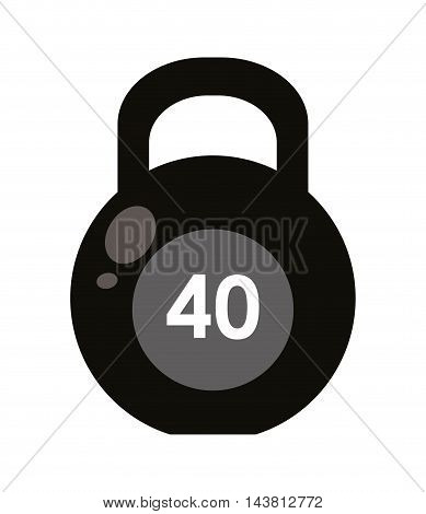 flat design single kettlebell icon vector illustration