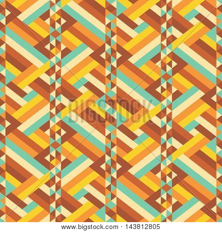 Vintage pattern. Retro colored zigzag geometric seamless ornament. Chevron repeatable background. Vector illustration.