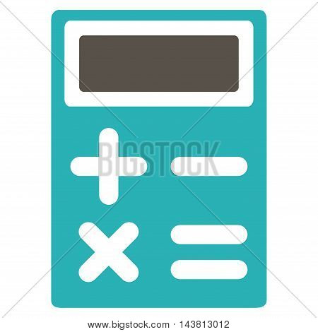 Calculator icon. Vector style is bicolor flat iconic symbol with rounded angles, grey and cyan colors, white background.