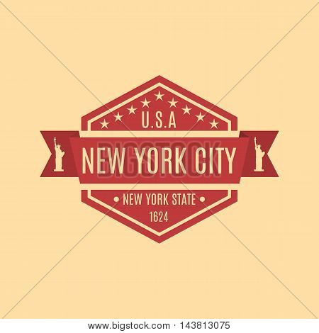 Hexagonal emblem with the text of the city of New York in a retro style isolated on a yellow background vector illustration.