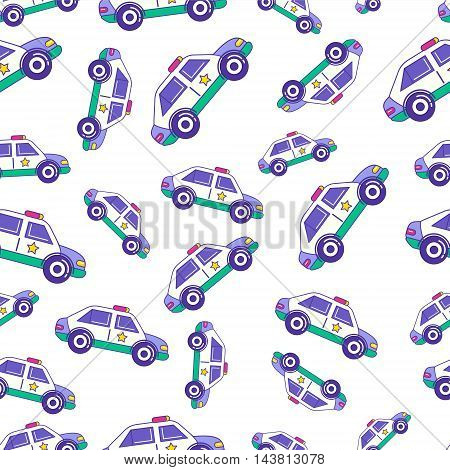 Bright Cartoon Patrol Car Seamless Pattern Design For Kids. Trendy Children Police Auto Repetitive P