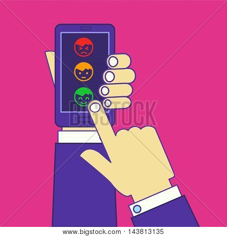 Hands leaving postive feedback or rate via smartphone touchscreen. Vector illustration of customer ranking app or site.