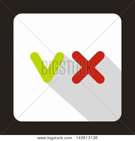 Green tick and red cross icon in flat style on a white background