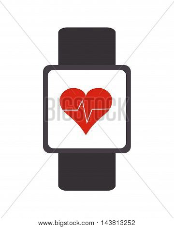 flat design heartbeat monitor wristband icon vector illustration