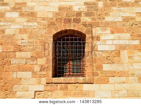 Rethymno city Greece Fortezza fortress window detail