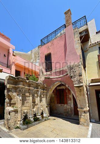 Rethymno city Greece venetian fountain landmark architecture