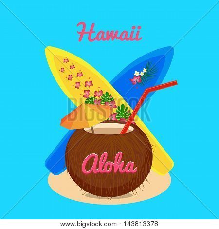 Aloha Hawaii carefree happy life, colorful vector flat illustration