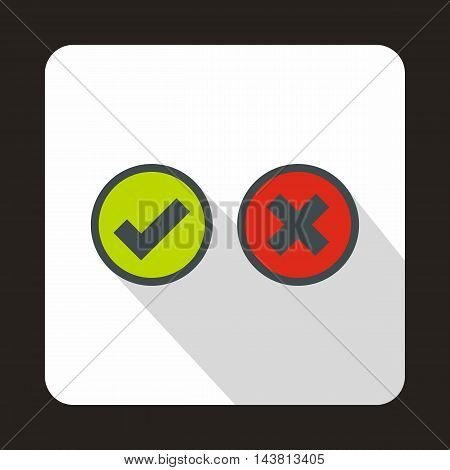 Tick and cross circle shape icon in flat style on a white background