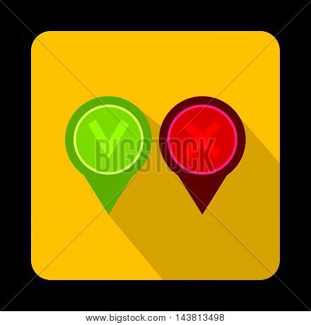 Pin with check and cross icon in flat style on a yellow background