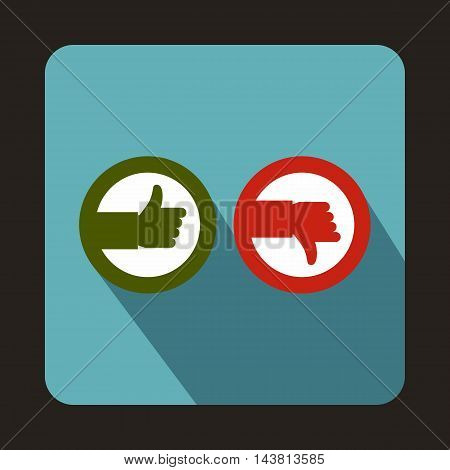 Thumbs up and down icon in flat style on a baby blue background