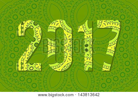 2017 Year Illustration Decorated With Abstract  Decorative Pattern In Green Colors.
