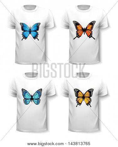Set of shirt templates with butterfly designs. Vector.