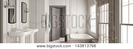 Panorama of bathroom with bathtub and two sinks (3D Rendering)