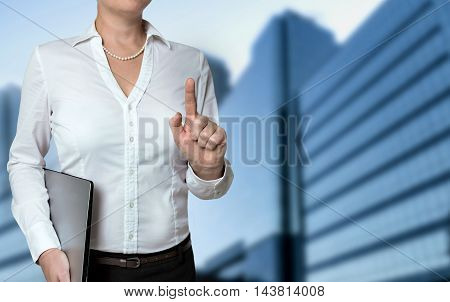 Businesswoman pointing with finger concept background template