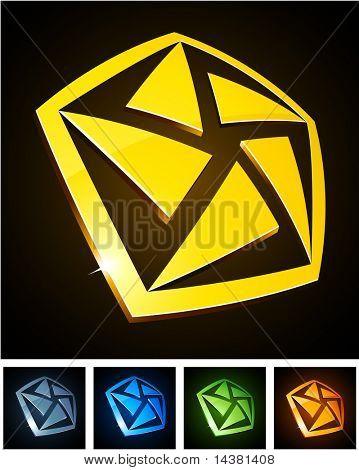 pentagon 3d vector icon such logos.