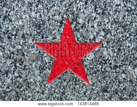 Red star depicted on the Soviet War Memorial in Roudnice nad Labem in Central Bohemia, Czech Republic.
