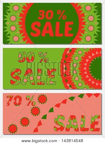 Set Of Creative Sale Banners With 30, 50, 70 Percent Discounts. Product Promotion Flyers, Coupons, A