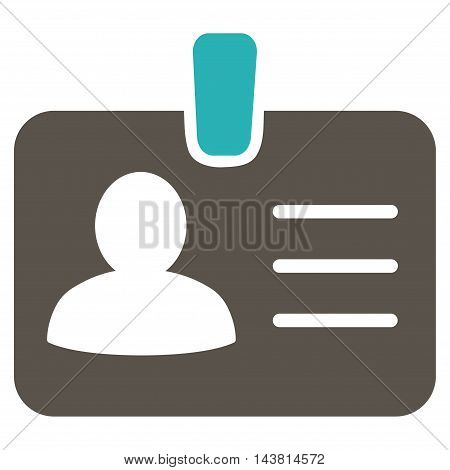 Person Badge icon. Vector style is bicolor flat iconic symbol with rounded angles, grey and cyan colors, white background.