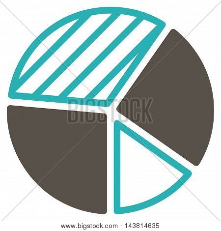 Pie Chart icon. Vector style is bicolor flat iconic symbol with rounded angles, grey and cyan colors, white background.