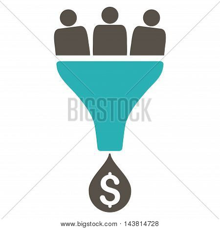 Sales Funnel icon. Vector style is bicolor flat iconic symbol with rounded angles, grey and cyan colors, white background.