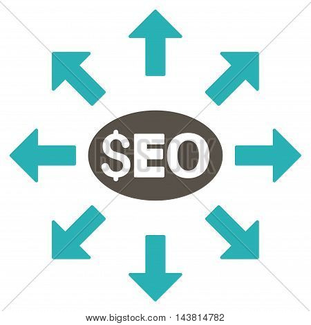 Seo Distribution icon. Vector style is bicolor flat iconic symbol with rounded angles, grey and cyan colors, white background.