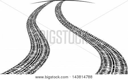 Road With Traces Of Tires And A Line Of Horizon. Black And White Vector Illustration.