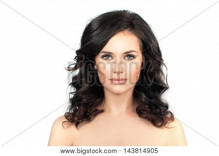 Healthy Woman with Clear Skin and Curly Hair. Skincare Concept