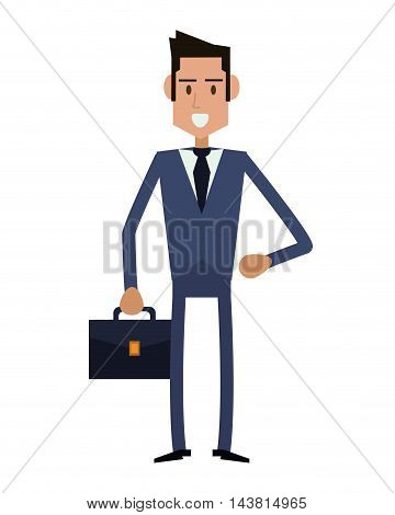 businessman suitcase cartoon man male avatar business suit cloth icon. Flat and Isolated design. Vector illustration