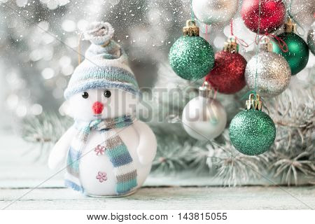 Christmas Background With Decorations On Wooden Board. Soft Focus.