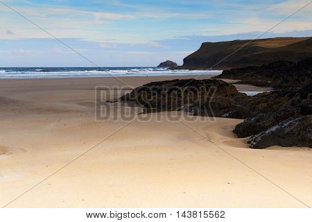 Early Morning View Over The Beach At Polzeath