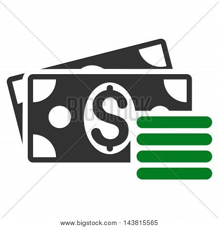 Dollar Cash icon. Vector style is bicolor flat iconic symbol with rounded angles, green and gray colors, white background.